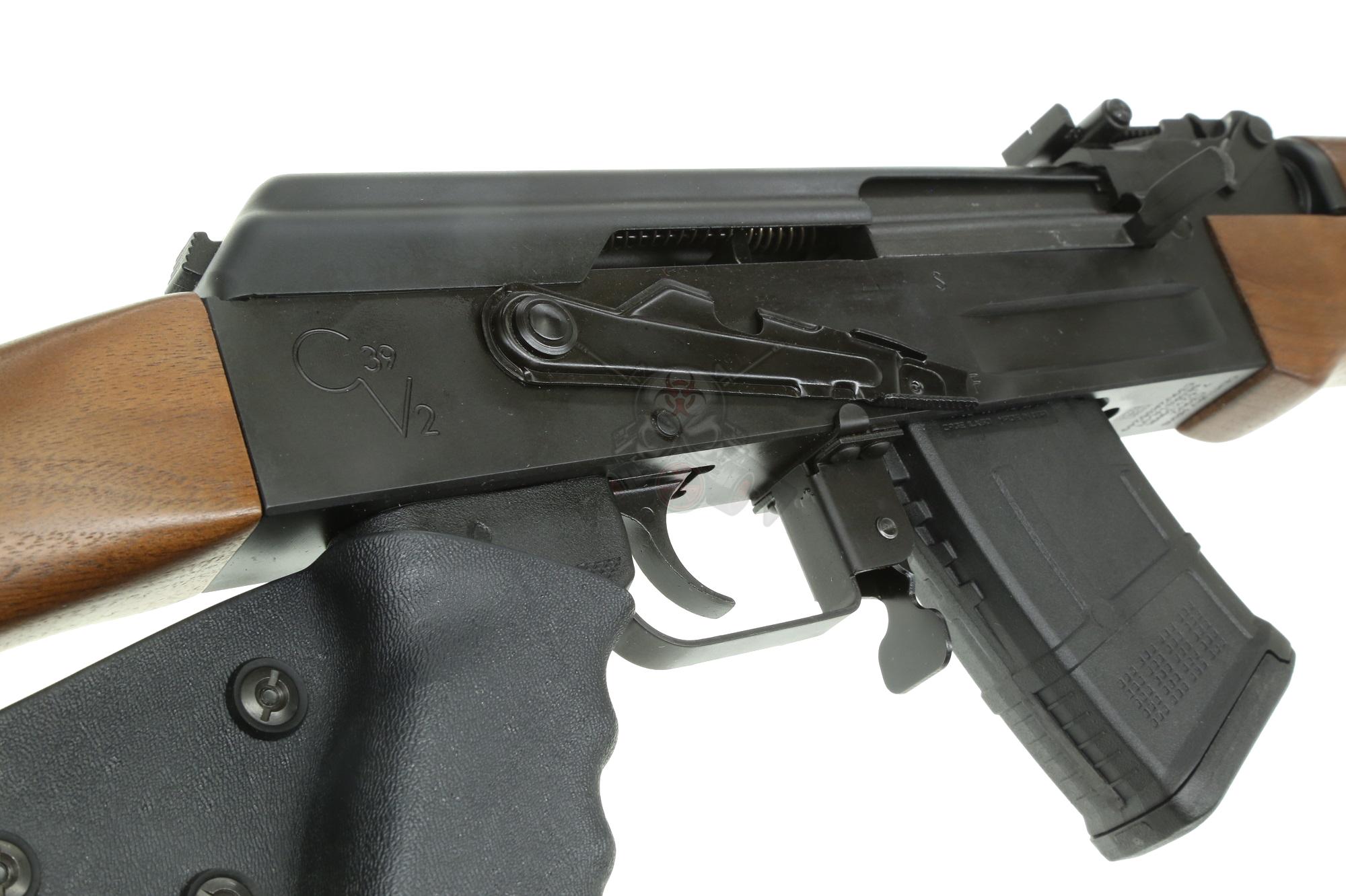 Century Arms C39V2 CA LEGAL Milled 7 62x39 AK-47 Rifle WITH SCOPE MOUNT  RAIL, Walnut furniture & installed grip wrap (1) 10rd mag RI2398CA-N