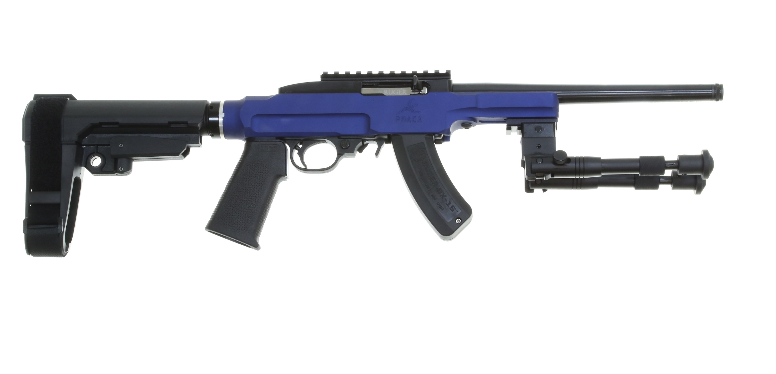 Ruger 1022 Charger 10 Anodized Blue Pmaca Chassis Sb
