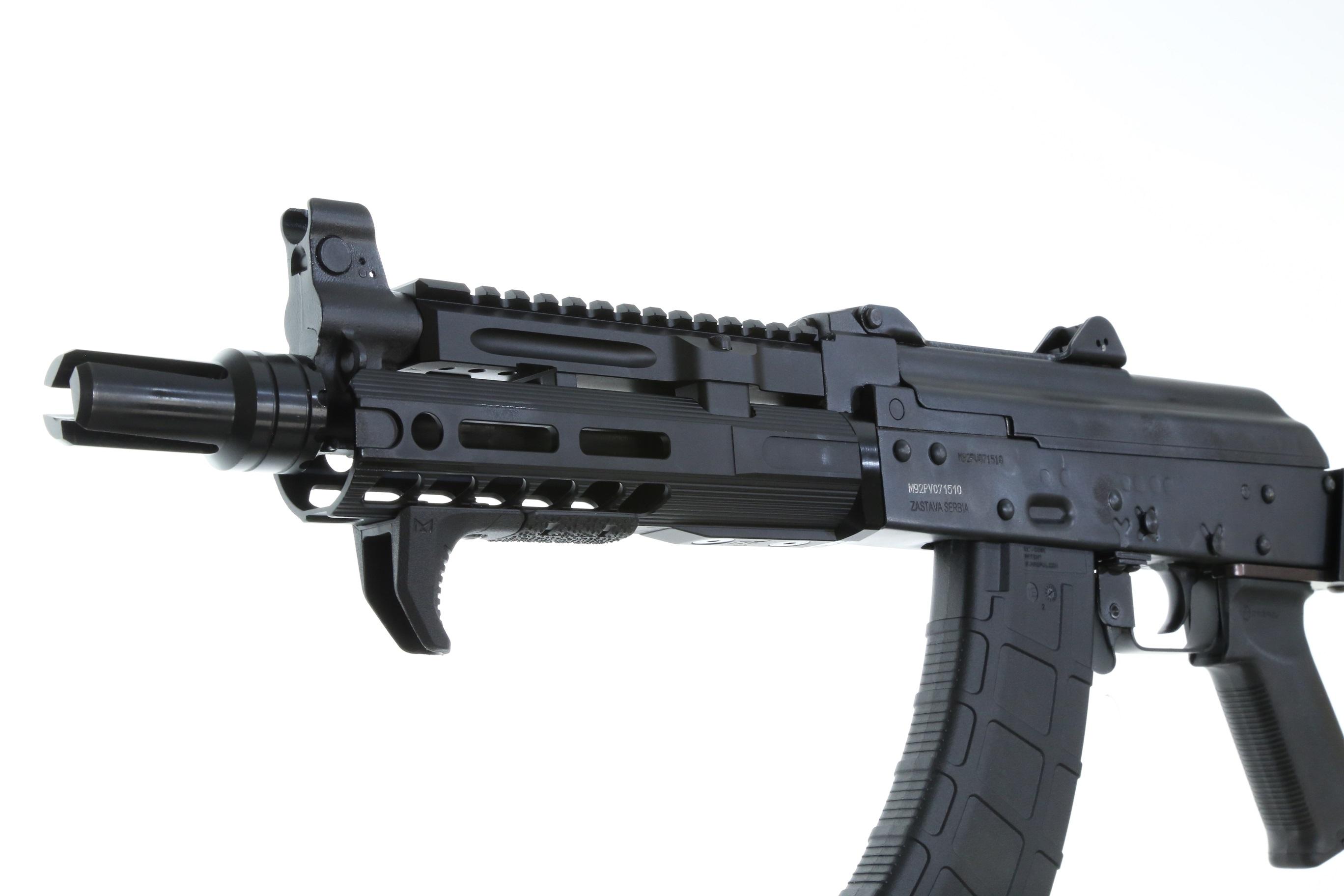 Century Arms ZASTAVA PAP M92 AK Pistol 7 62X39 SLR Rifleworks Handguard and  Railed gas tube Tromix Charging Handle M Lok Handstop MOE Plus AK Grip
