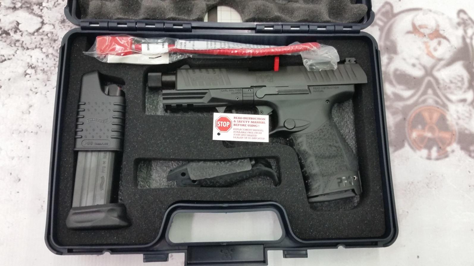 Walther PPQ M2 Navy Pistol 2796082 9mm - 4 6'' THREADED BARREL, Polymer  Grip, Black Finish, 15 & 17 Rd mags
